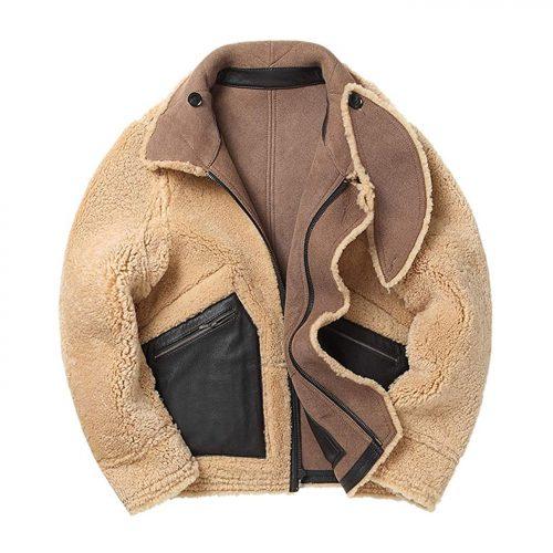 New Mens Shearling Jacket Short Sheepskin Coat Thick Leather Jacket Mens Winter Coats B3 Leather Jacket Free Shipping