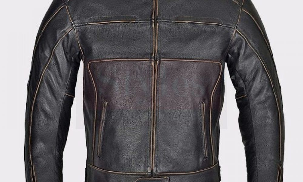 Men Motorbike Armor Leather Jacket Vintage Style